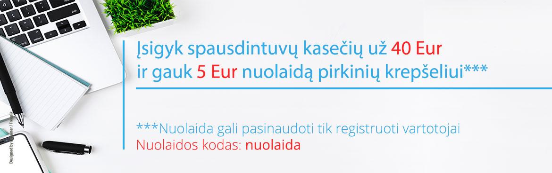 5 Eur nuolaida pirkinių krepšeliui